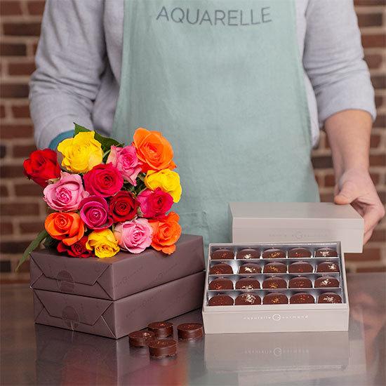 chocolats noirs et roses